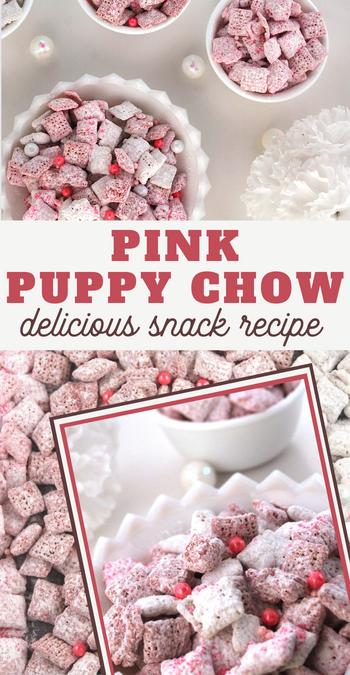 pink puppy chow recipe