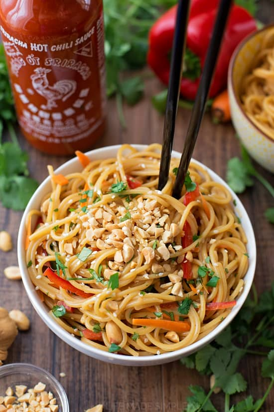 20 Minute Spicy Thai Noodle Bowls