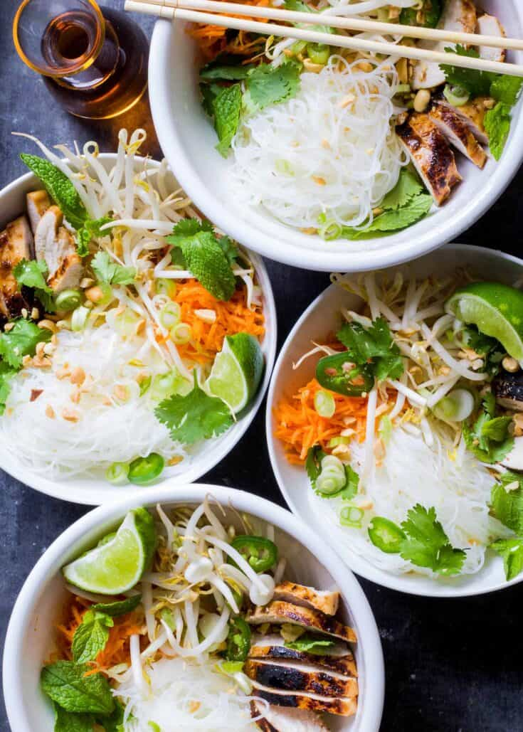 Vietnamese-Style Noodle Bowls with Chicken Recipe | SimplyRecipes.com
