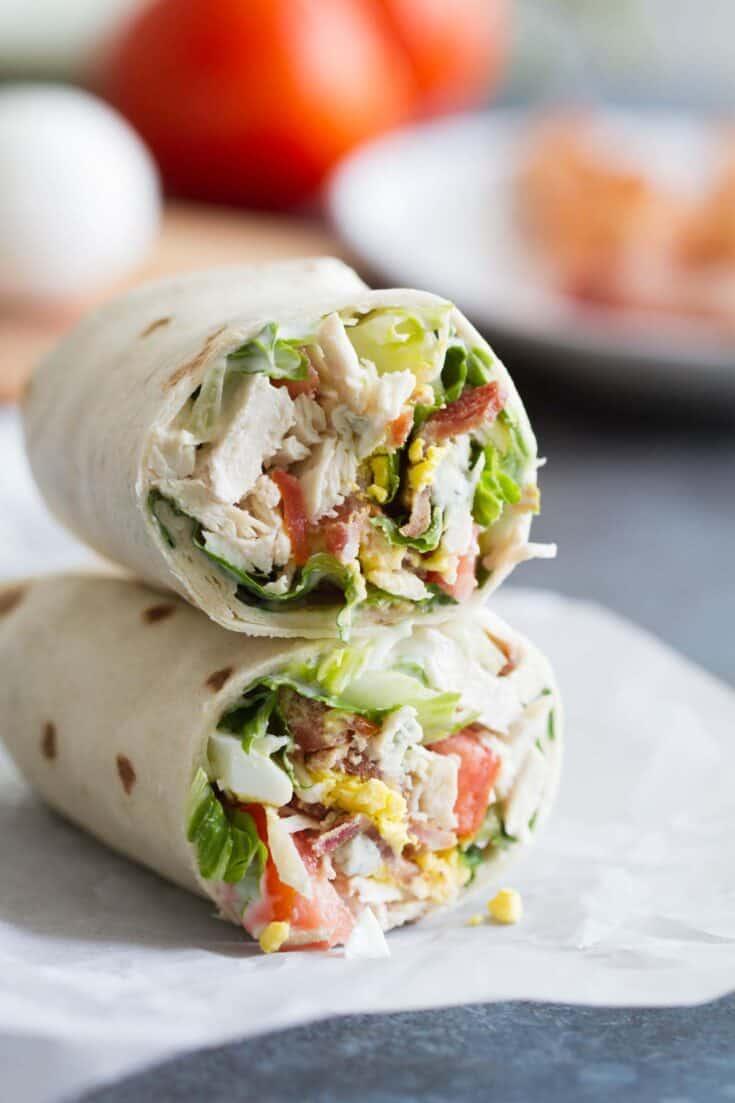 Easy Chicken Cobb Salad Wraps - Lunch Recipe