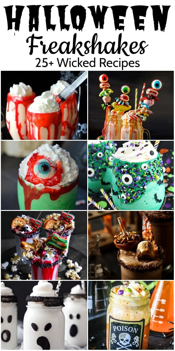 Photo collage of recipes for halloween freakshakes