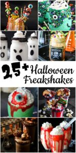 Photo collage of how to make a halloween freakshake