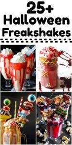 photo collage of halloween freakshake recipes