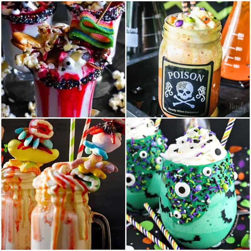 Photo collage of halloween freakshake ideas