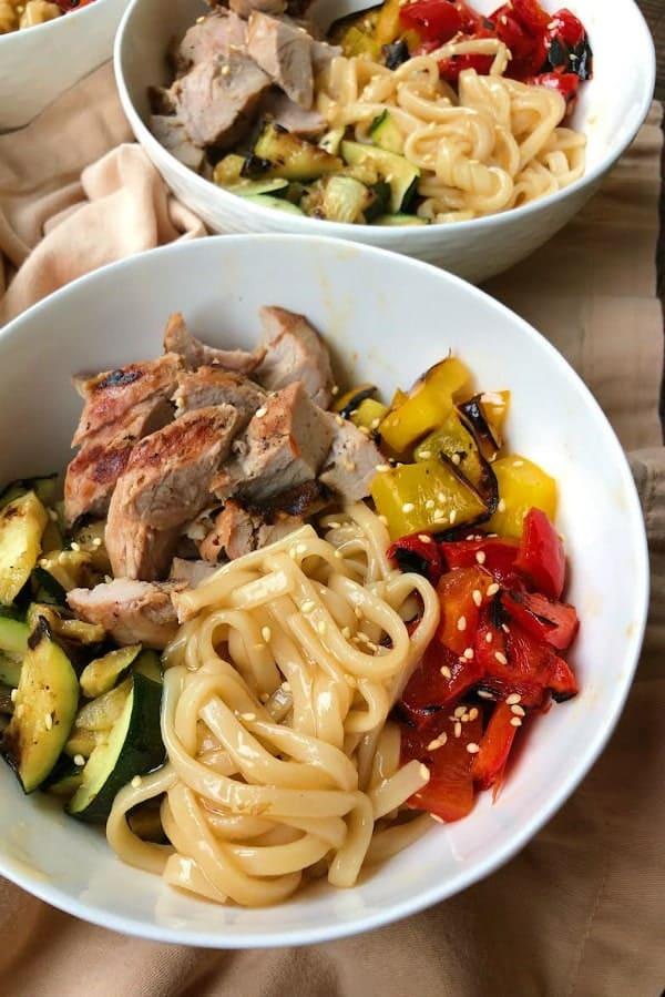 Grilled Pork and Vegetable Teriyaki Noodle Bowls