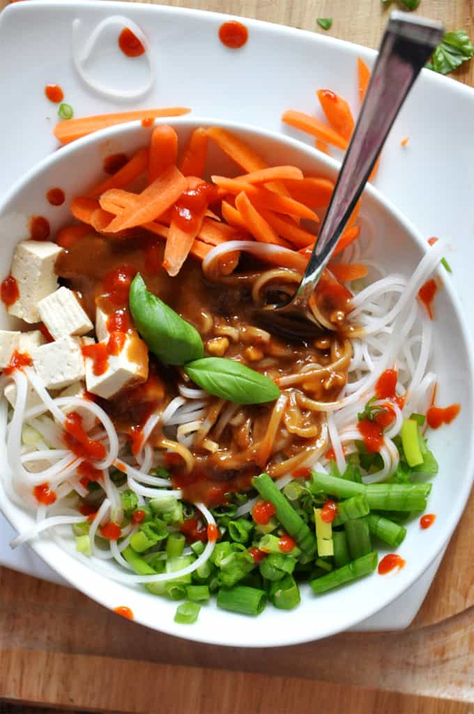 Noodle Bowl with Ginger Peanut Dressing