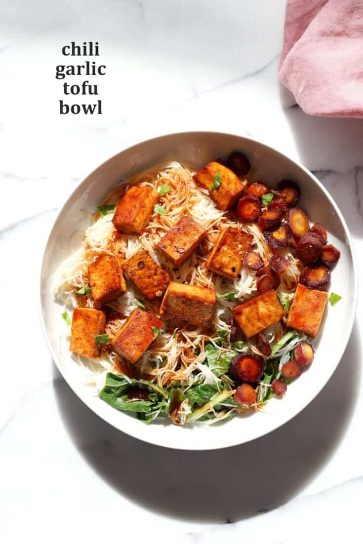 Baked Chili Garlic Tofu, Carrot, Chard and Noodle Bowls
