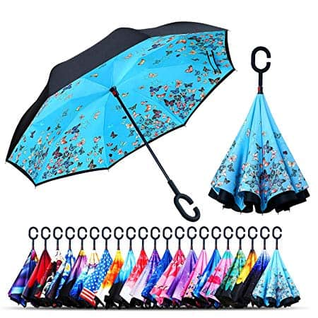 Windproof Double Layer Folding Inverted Umbrella