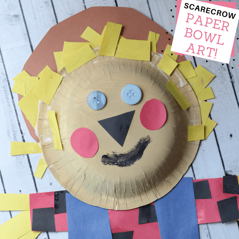 Scarecrow paper bowl art for kids