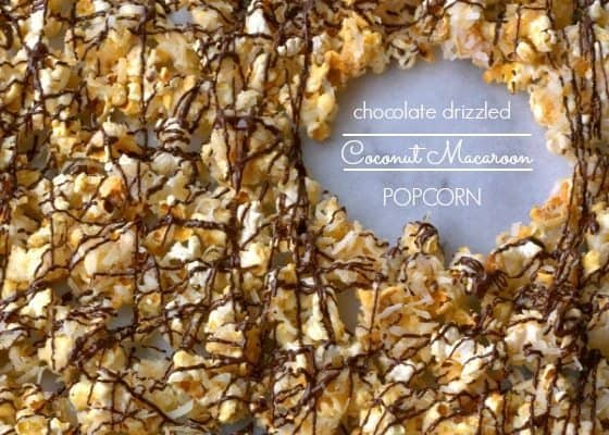 Chocolate Drizzled Coconut Macaroon Popcorn