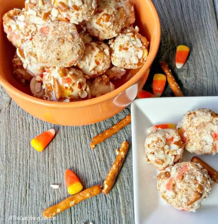 Candy Corn Pretzel Balls