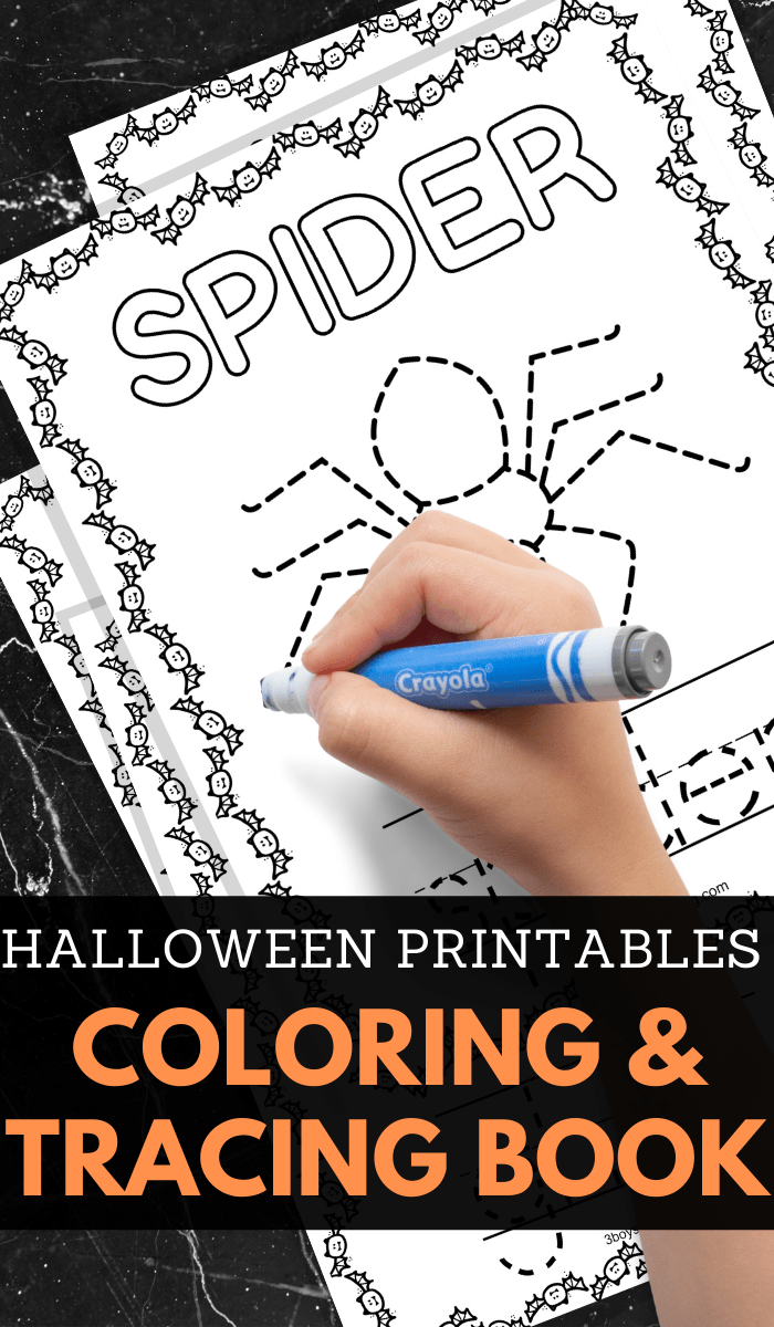 preschoolers Halloween trace and color printable sheets