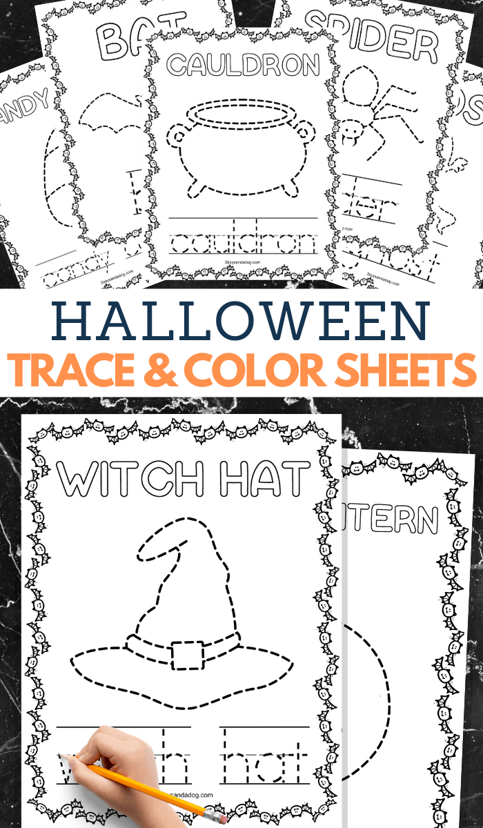 halloween printable coloring and tracing book