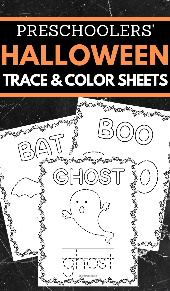 halloween trace and color fine motor skills sheets