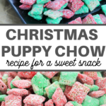 this red and green candy coated chex cereal snack recipe is ready to serve in no time