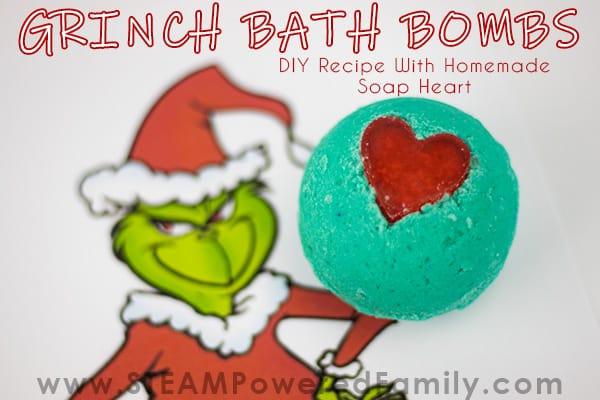 Grinch Inspired Christmas Bath Bomb Recipe With A Soap Heart