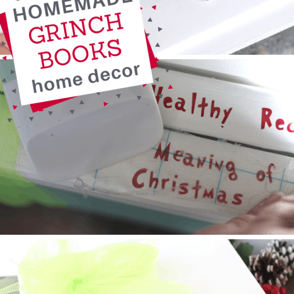 you can make this easy Grinch Themed Book Stack decor
