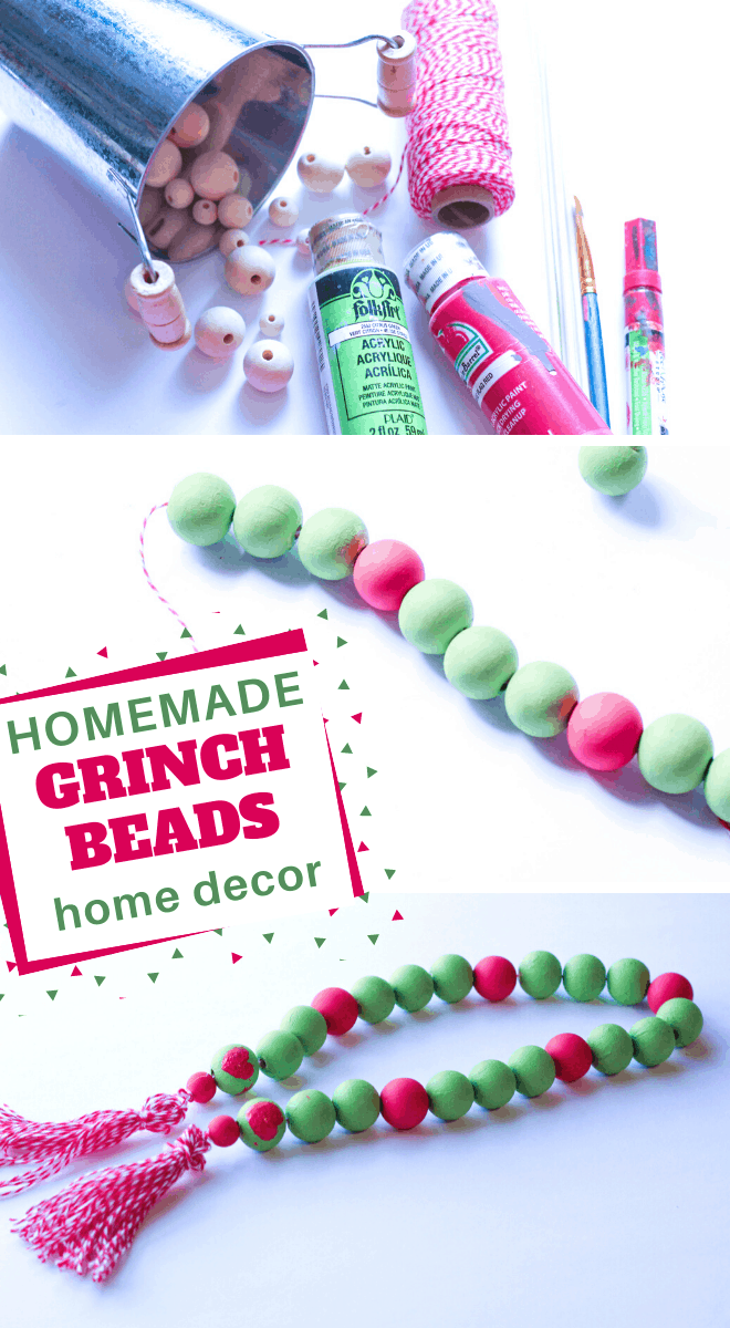 you can make these easy Grinch Themed Farmhouse Beads decorations