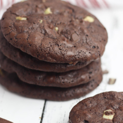 brownie mix cookies with mint chocolate chunks
