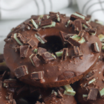 decadent chocolate mint donut recipe with andes garnish