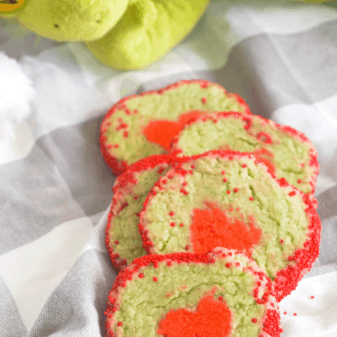 easy Grinch heart slice and bake cookies recipe