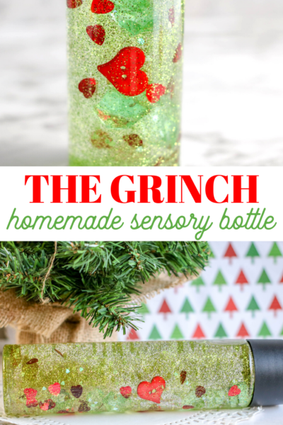 homemade grinch glitter bottle