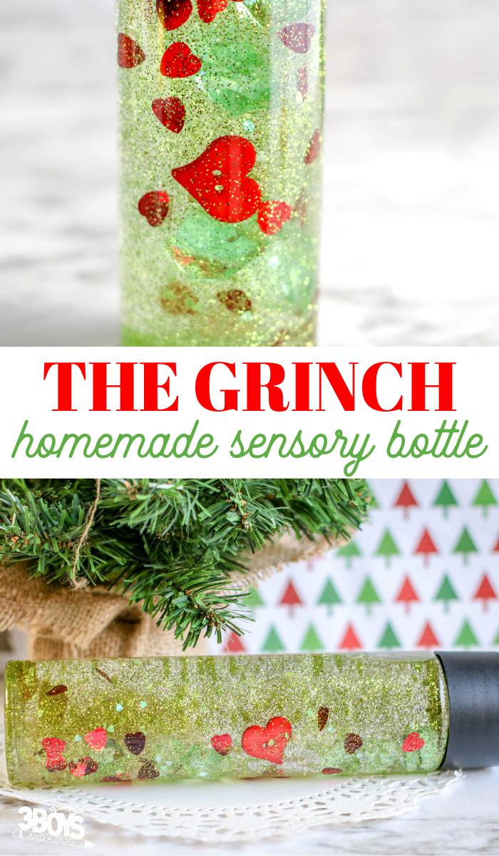homemade grinch glitter bottle