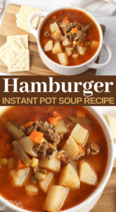 ground hamburger meat and vegetable soup in the instapot