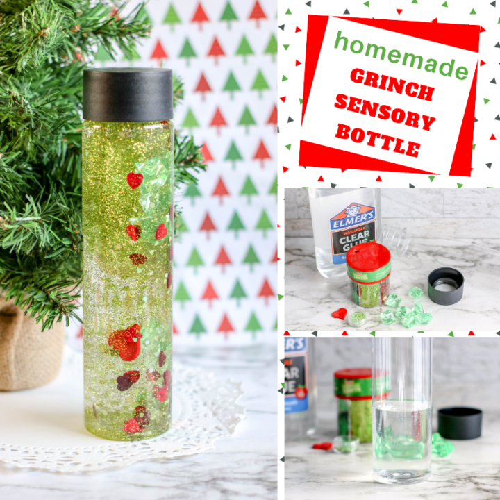 make your own Grinch sensory water bottle craft