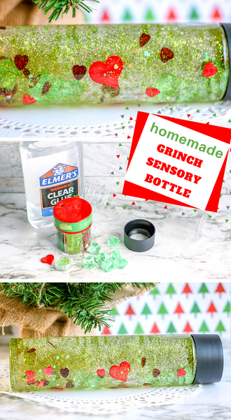 grinch sensory bottle diy