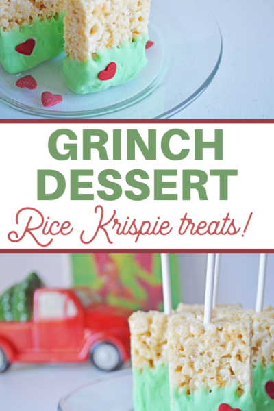 marshmallow cereal bars in a cute grinch heart theme