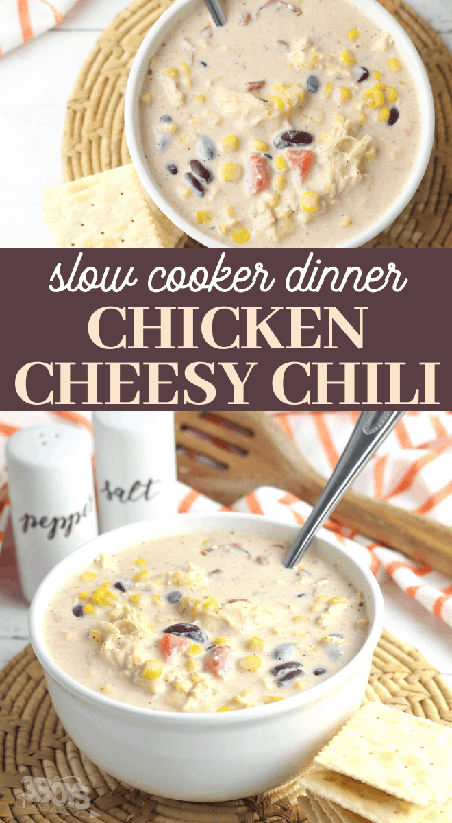 cheesy chicken chili crockpot recipe
