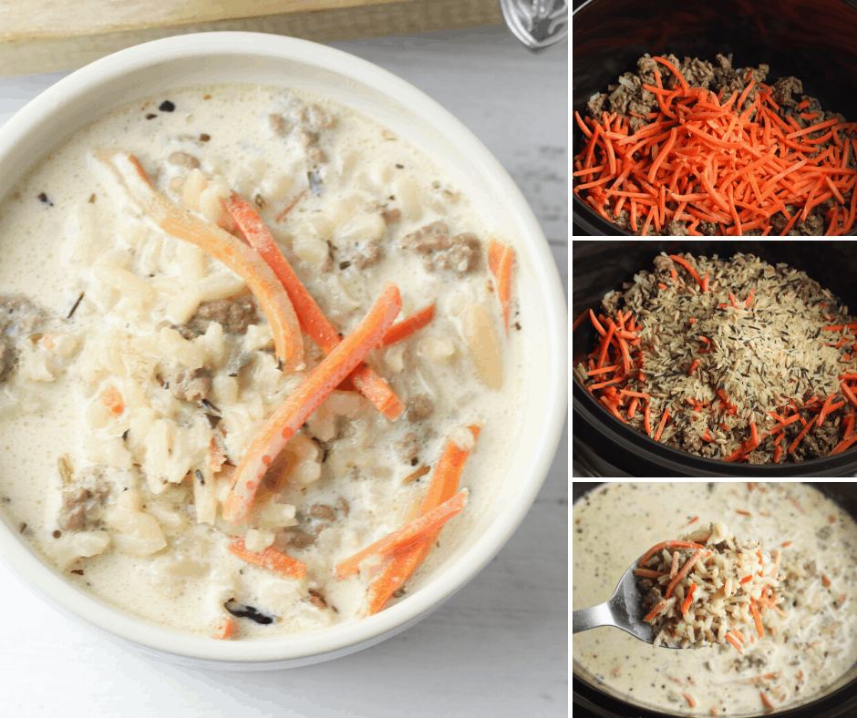 slow cooker creamy hamburger soup with wild rice