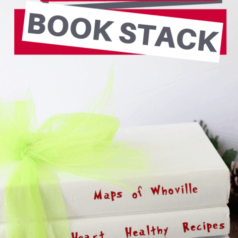 homemade decor idea The Grinch Book Stack