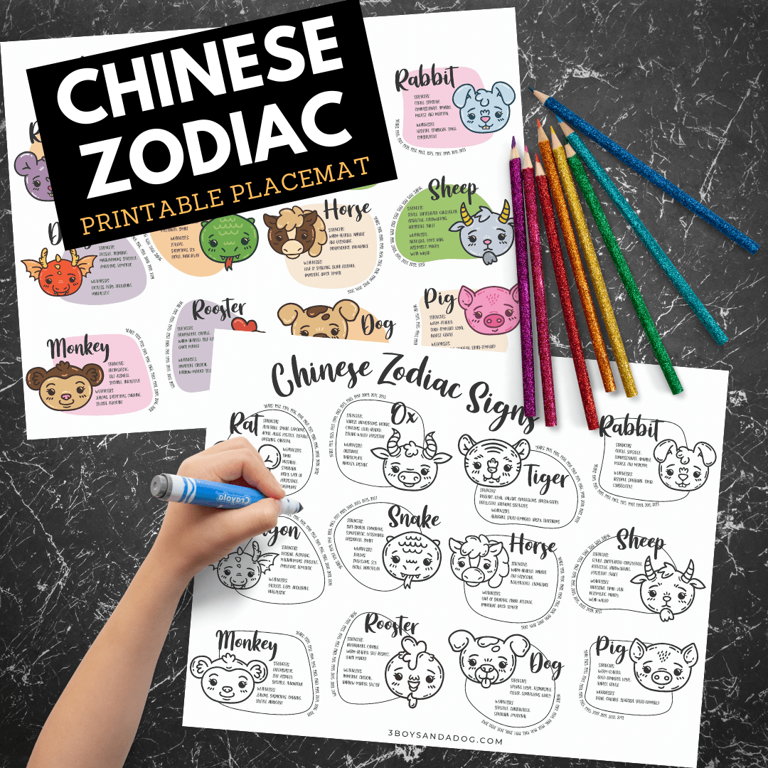 It's just a photo of Printable Chinese Zodiac Placemat with regard to march
