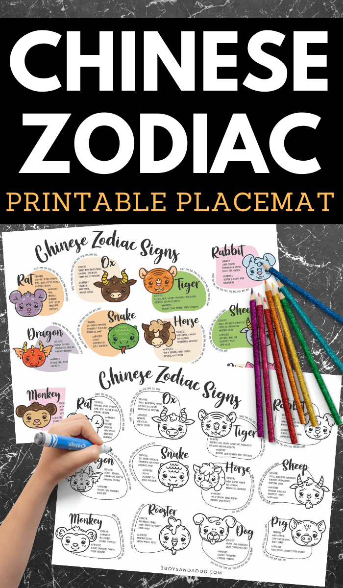 Chinese Zodiac Printable Placemat
