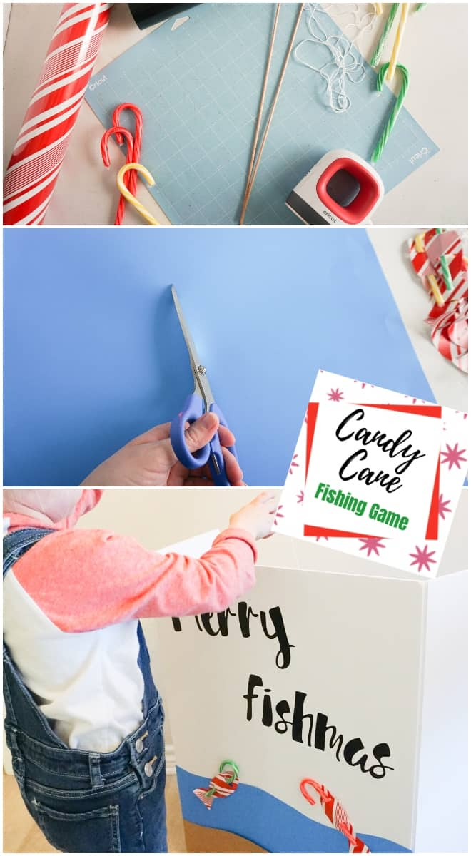 group candy cane fishing game for kids