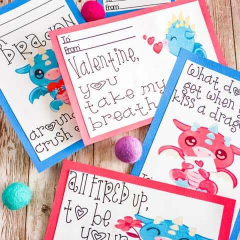 Dragon Valentines Cards Print and Cut Project