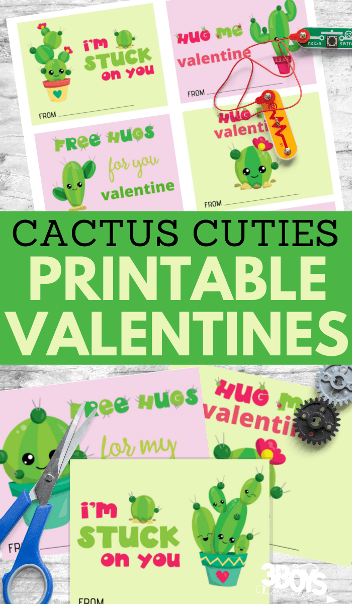 six different adorable cactus cuties printable valentines
