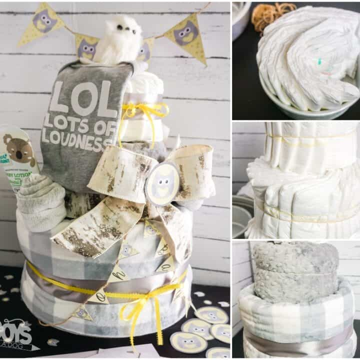 DIY Owl Themed Diaper Cake