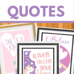 set of three printable quotes about unicorns in frames