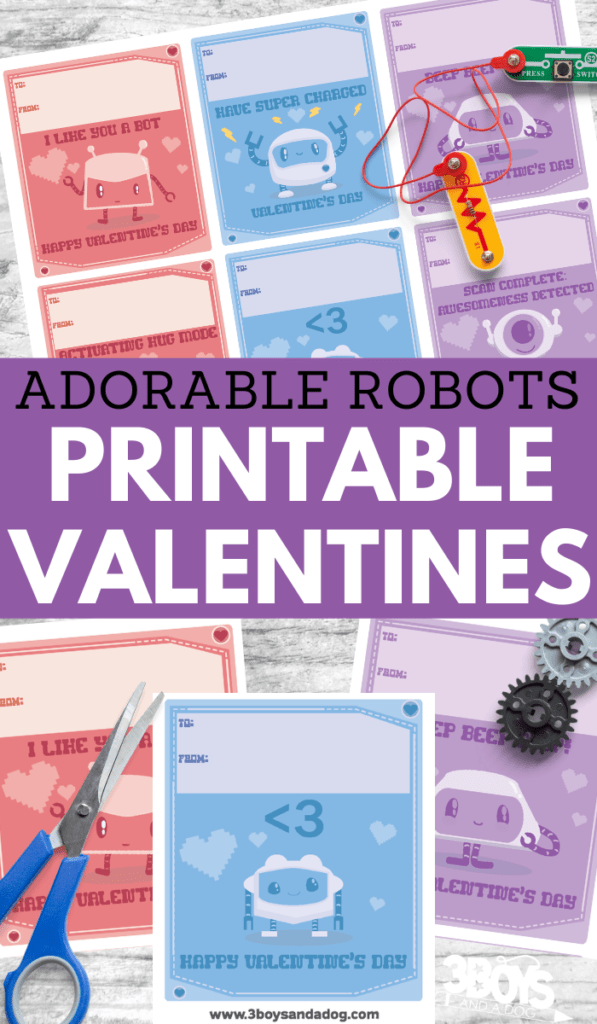 adorable robots printable valentine cards