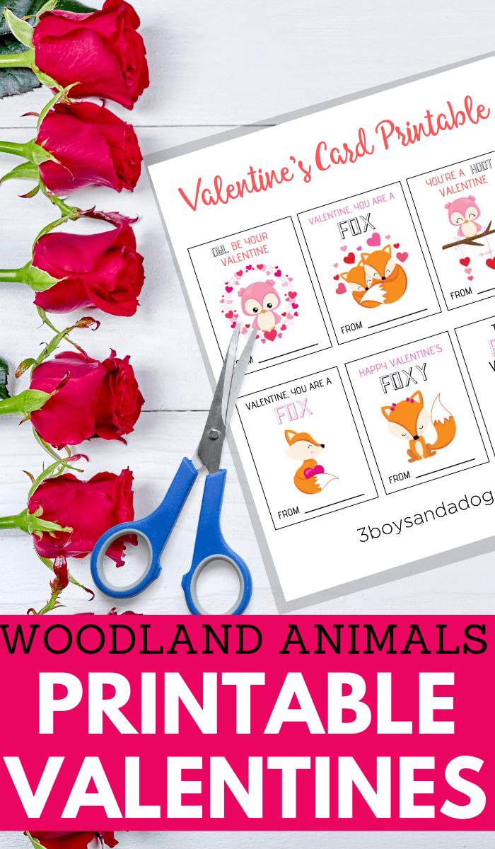 woodland animals printable valentine cards