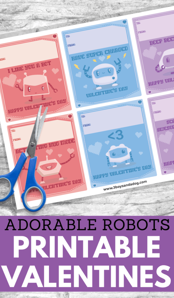 printable valentines of six different robots