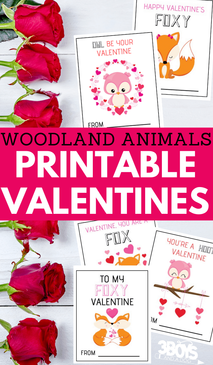 owl and fox printable valentine cards for kids