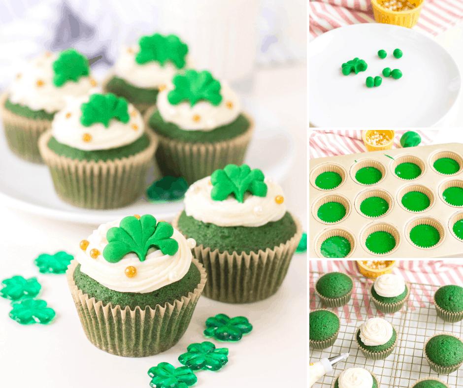 green velvet shamrock dessert cupcakes