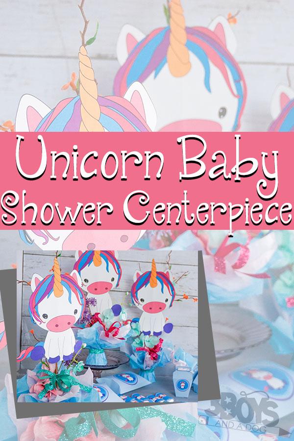 unicorn baby shower centerpiece