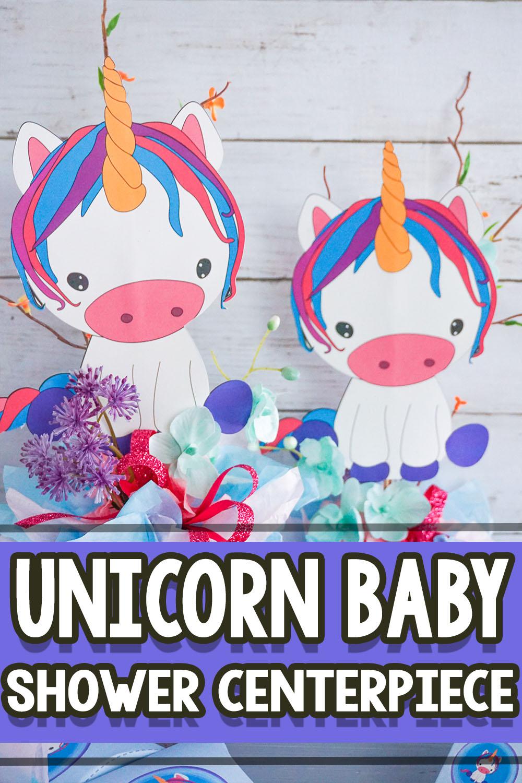 unicorn themed baby shower centerpiece