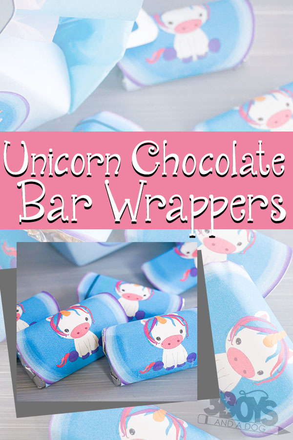 Unicorn themed baby shower Chocolate Bar Wrappers