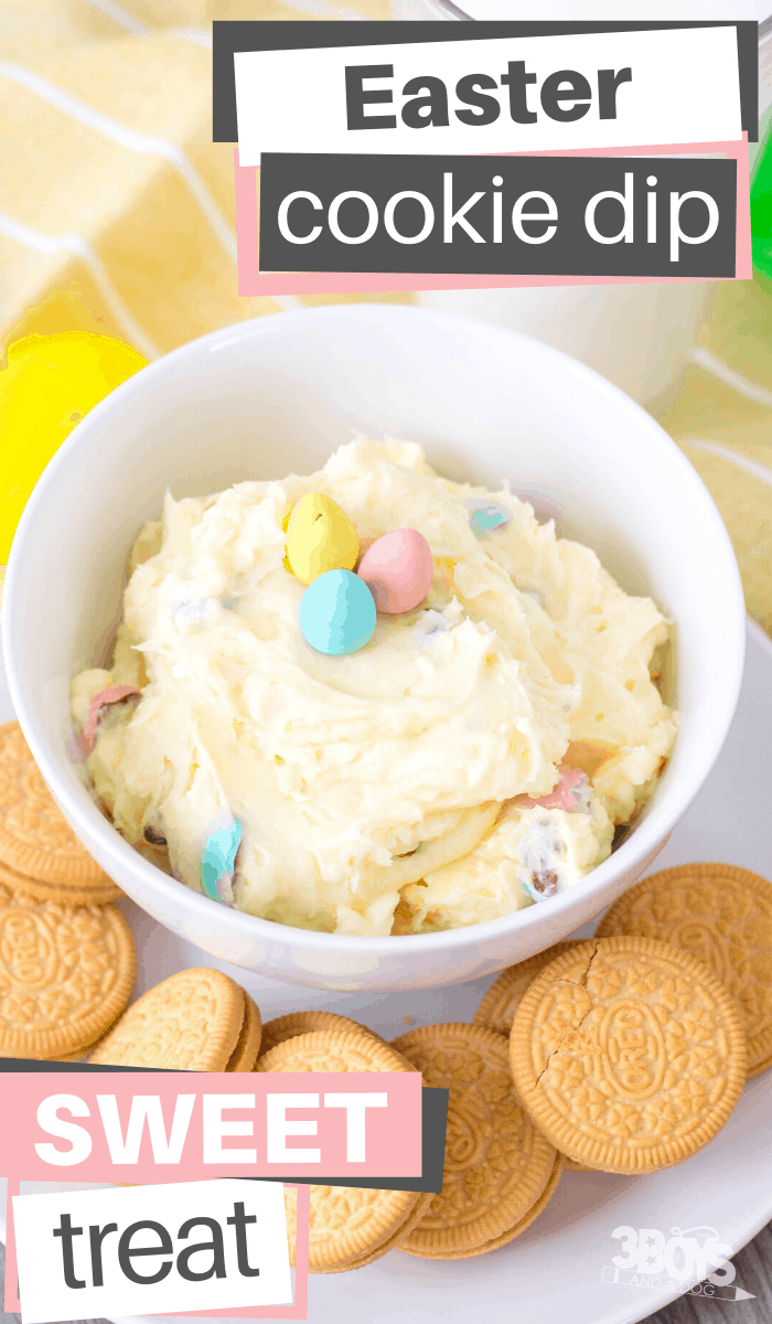 cream cheese and powdered suagr combine with easter candy eggs to make the perfect dip for your favorite cookie